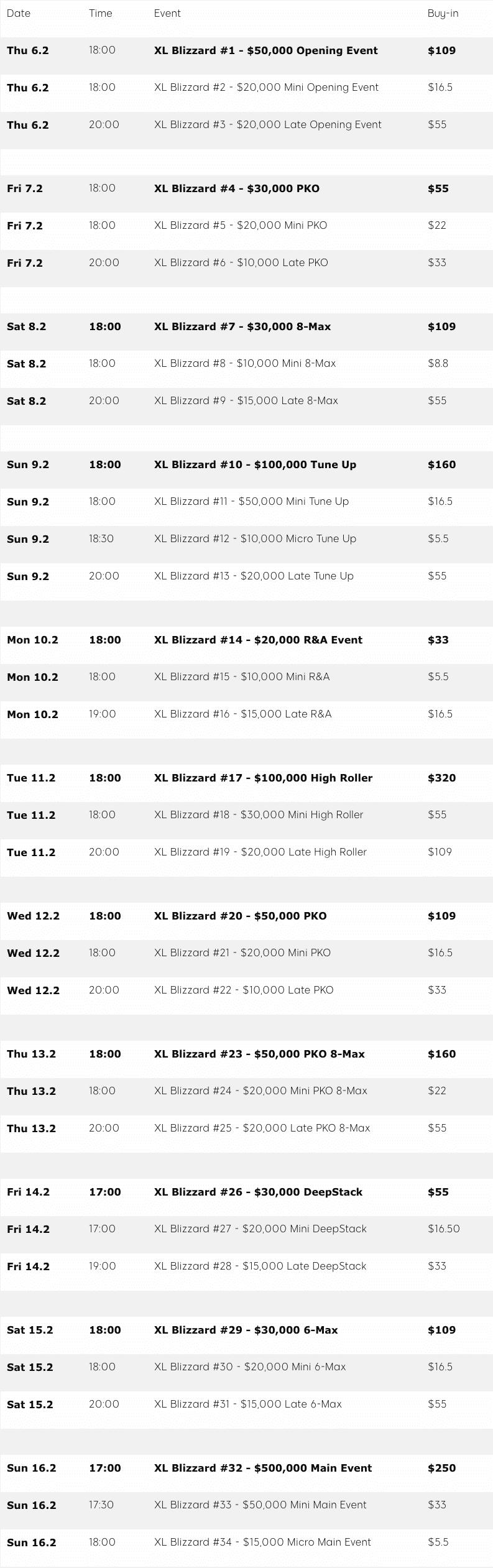 Расписание XL Blizzard 2020