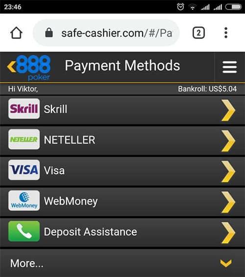 пополнение счета 888 покер через мобильный телефон