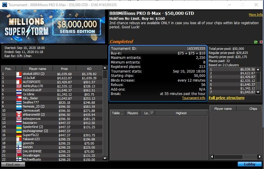 Турнир 888Millions PKO 8-max